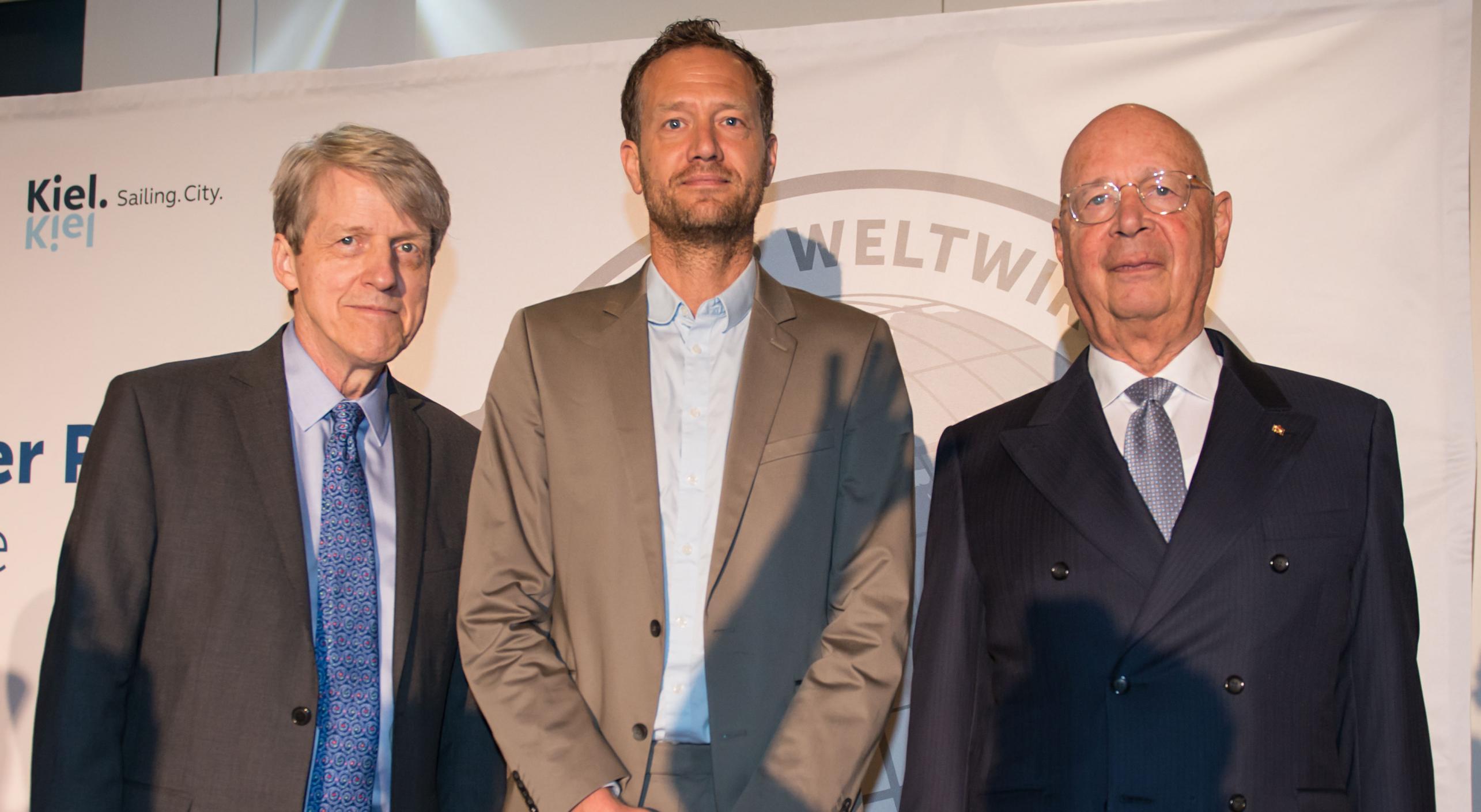 Prof. Dr. Klaus Schwab, Bas van  Abel, Prof. Robert Shiller Weltwirtschaftlicher Preis 2018 Kiel