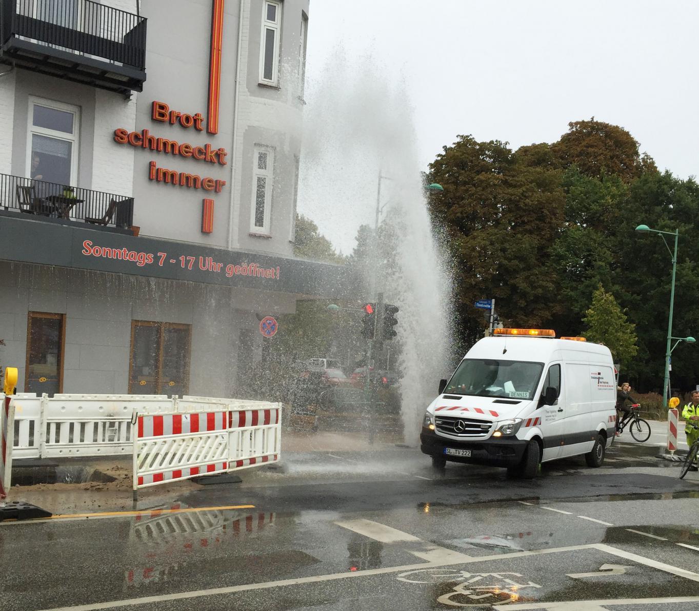 Wasserfontäne Kiel Wik nach Leitungsbruch
