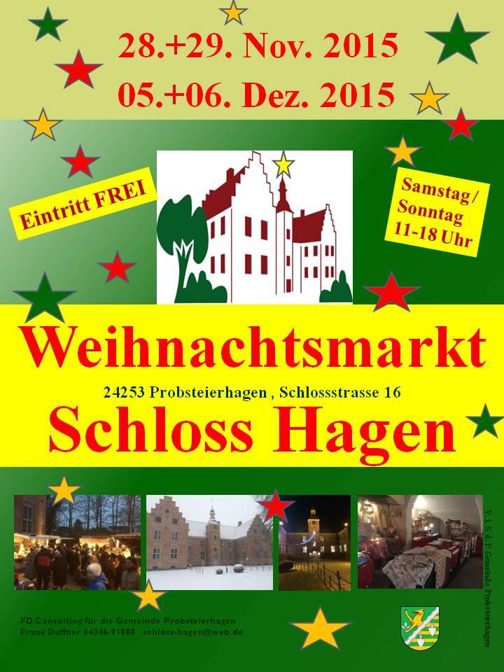 Traditioneller Weihnachtsmarkt auf Schloss Hagen in Probsteierhagen bei Kiel